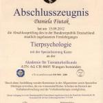 Tierpsychologie - Zertifikat von Daniela Fiutak, Duisburg